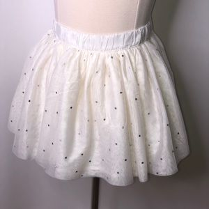 Gymboree white tulle silver heart skirt
